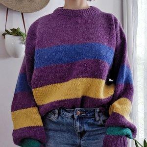 Vintage Oversized Color Block Cozy Sweater Medium